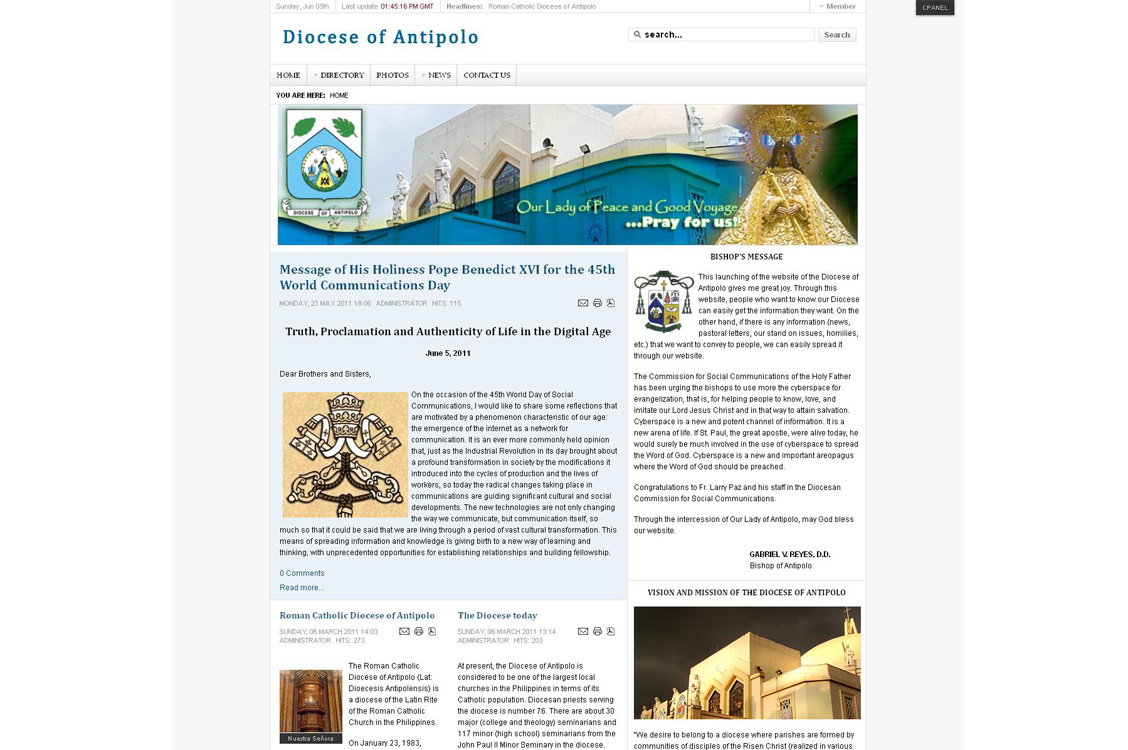 Joomla website development and design for the Diocese of Antipolo, a religious, church and for non-profit website