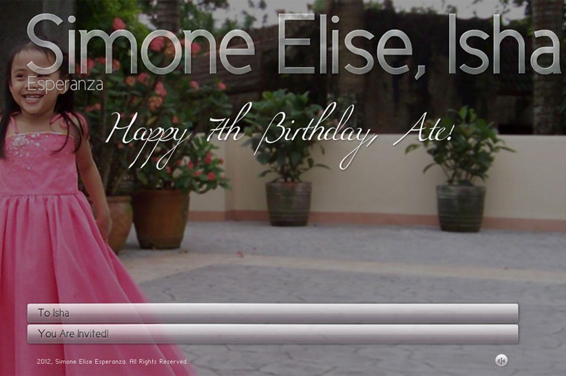 Simone Elise Birthday Online Invitation Web Design in Manila, Philippines